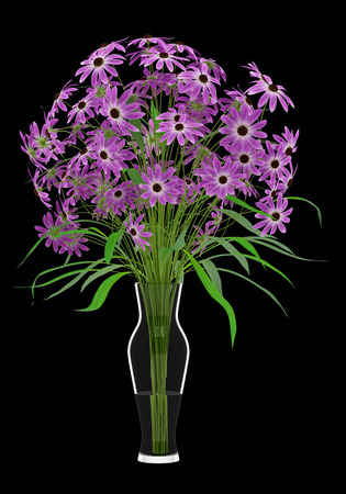 nosegay: purple flowers in glass vase isolated on black background. 3d illustration