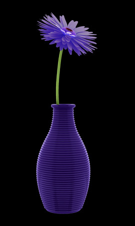 purple flower: purple flower in vase isolated on black background. 3d illustration