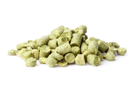 hops pellets isolated on white background Stock Photo