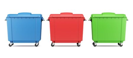 big bin: three color garbage containers isolated on white background. 3d illustration