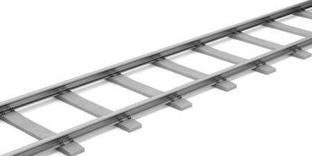 sleepers: rails with concrete sleepers isolated on white background. 3d illustration Stock Photo