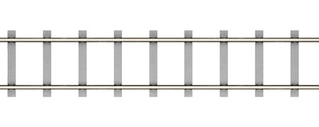 sleepers: top view of rails with concrete sleepers isolated on white background. 3d illustration