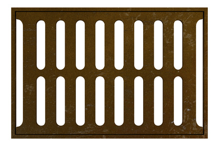 gutter: rusty sewage grid isolated on white background. 3d illustration