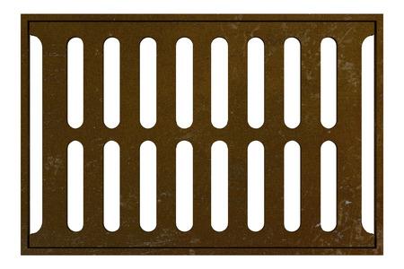 sewage: rusty sewage grid isolated on white background. 3d illustration