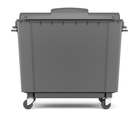 garbage container: gray garbage container isolated on white background. 3d illustration