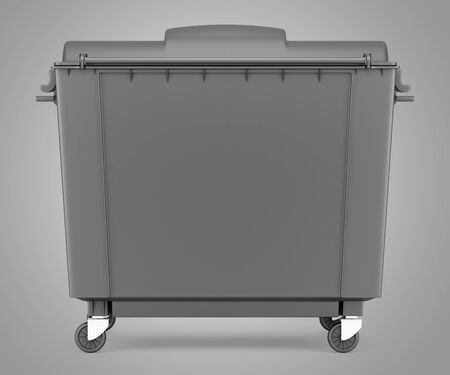 garbage container: gray garbage container isolated on gray background. 3d illustration