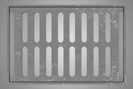 sewage: sewage grid isolated on gray background. 3d illustration