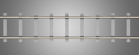 top view of rails with concrete sleepers isolated on gray background. 3d illustration