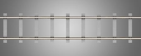 ferrocarril: vista superior de los carriles con traviesas de hormigón aislados sobre fondo gris. 3d ilustración Foto de archivo