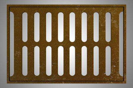 depuradoras: rusty sewage grid isolated on gray background. 3d illustration