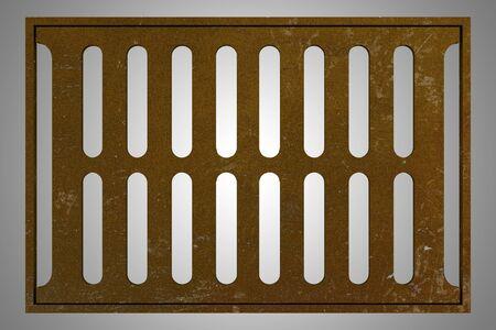 drainage: rusty sewage grid isolated on gray background. 3d illustration