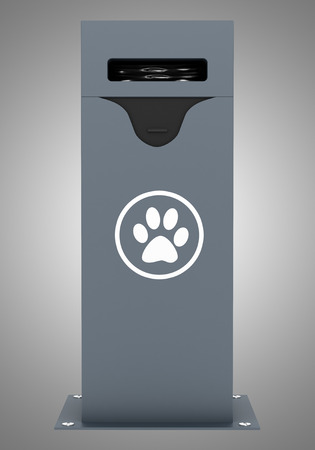 waste 3d: dog waste container isolated on gray background. 3d illustration