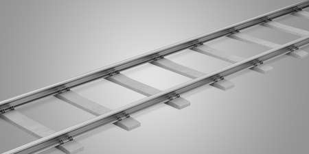 sleepers: rails with concrete sleepers isolated on gray background. 3d illustration Stock Photo