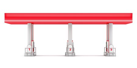 gas: modern gas station isolated on white background. 3d illustration
