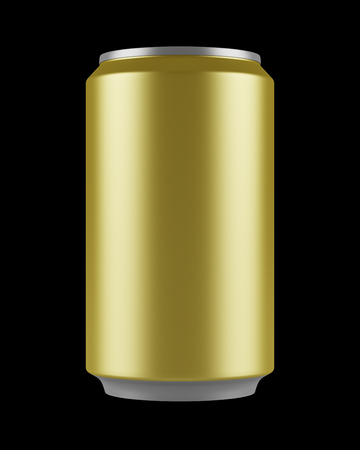 gold cans: yellow beer can isolated on black background Stock Photo