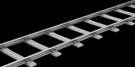 sleepers: rails with concrete sleepers isolated on black background. 3d illustration