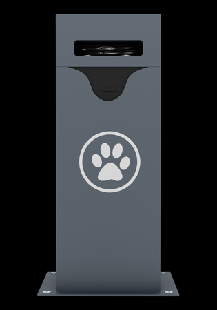 waste 3d: dog waste container isolated on black background. 3d illustration