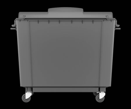 big bin: gray garbage container isolated on black background. 3d illustration