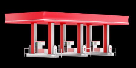 modern gas station isolated on black background. 3d illustration Reklamní fotografie