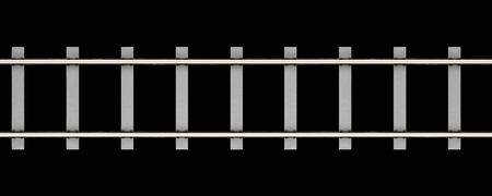 sleepers: top view of rails with concrete sleepers isolated on black background. 3d illustration