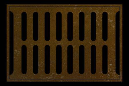 sewage: rusty sewage grid isolated on black background. 3d illustration