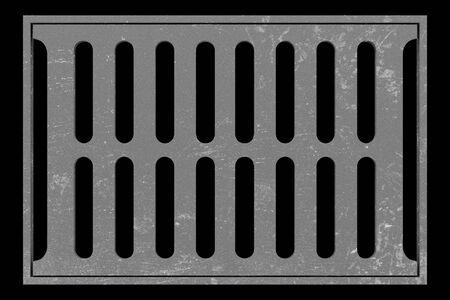 sewage: sewage grid isolated on black background. 3d illustration Stock Photo