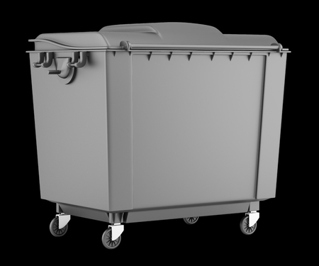 garbage container: gray garbage container isolated on black background. 3d illustration