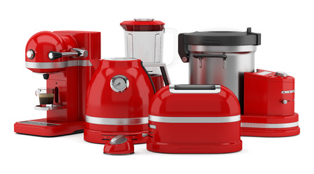 kitchen appliances: red kitchen appliances isolated on white background. 3d illustration Stock Photo