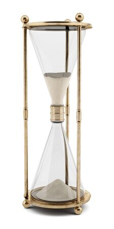hour glass: vintage hourglass isolated on white background. 3d illustration Stock Photo