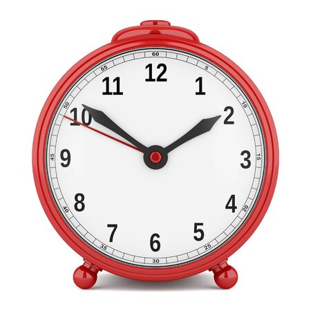 alarmclock: red alarm clock isolated on white background. 3d illustration