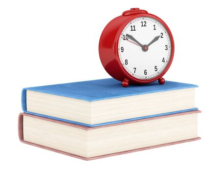 alarmclock: red alarm clock with two books isolated on white background. 3d illustration