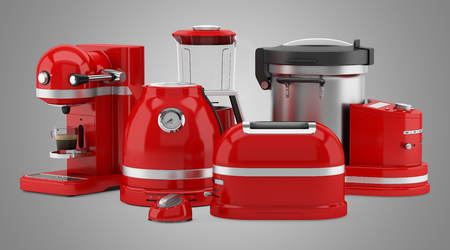 appliances: red kitchen appliances isolated on gray background. 3d illustration