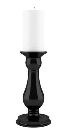 black backgrounds: black candlestick with candle isolated on white background. 3d illustration Stock Photo