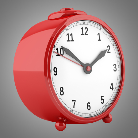 alarmclock: red alarm clock isolated on gray background. 3d illustration Stock Photo