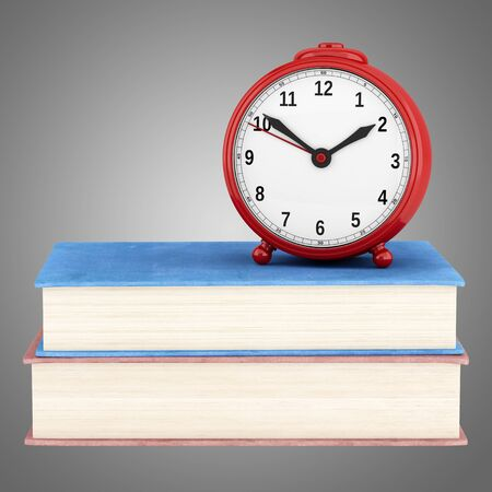 alarmclock: red alarm clock with two books isolated on gray background. 3d illustration Stock Photo