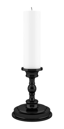 white candle: black candlestick with candle isolated on white background. 3d illustration Stock Photo