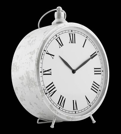 alarmclock: vintage clock isolated on black background. 3d illustration Stock Photo