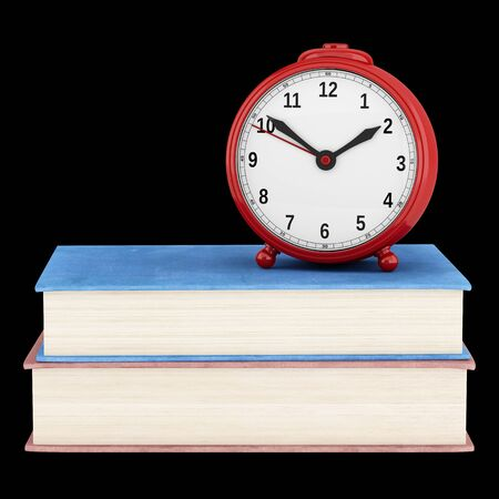 alarmclock: red alarm clock with two books isolated on black background. 3d illustration Stock Photo
