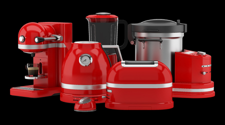 red kitchen appliances isolated on black background. 3d illustration Stock Photo