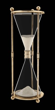 vintage hourglass isolated on black background. 3d illustration