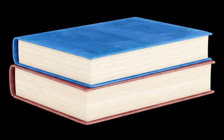 books isolated: two books isolated on black background. 3d illustration Stock Photo