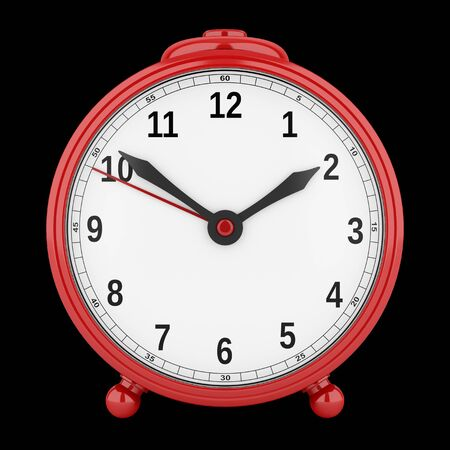alarmclock: red alarm clock isolated on black background. 3d illustration