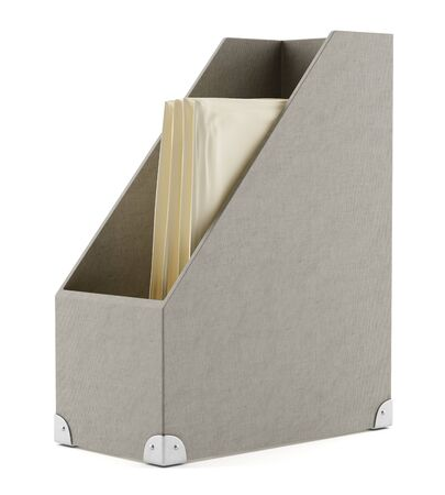 brown box: office cardboard box isolated on white background. 3d illustration