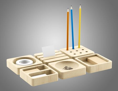 brown box: wooden desk organizer with office supplies isolated on gray background. 3d illustration