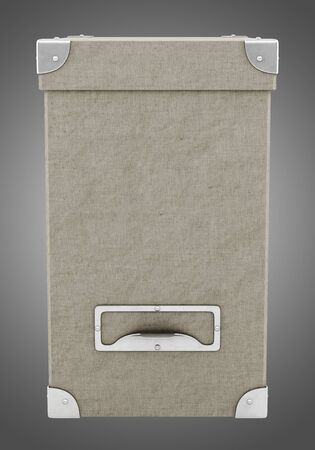 storage box: office cardboard box isolated on gray background. 3d illustration