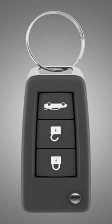 remote lock: car key remote isolated on gray background. 3d illustration
