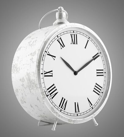 vintage clock: vintage clock isolated on gray background. 3d illustration Stock Photo