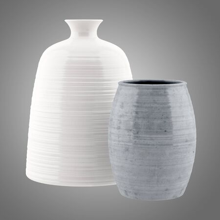 two object: two ceramic vases isolated on gray background. 3d illustration Stock Photo