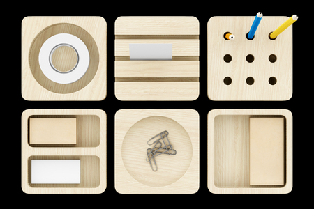 trompo de madera: top view of wooden desk organizer with office supplies isolated on black background. 3d illustration