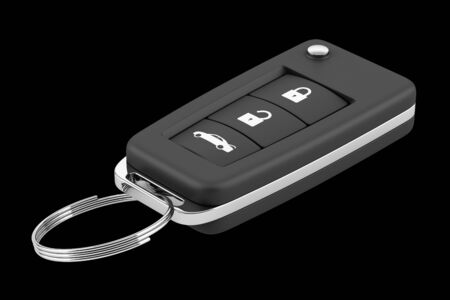 remote lock: car key remote isolated on black background. 3d illustration Stock Photo